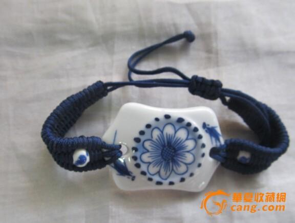 漂亮的青花瓷手工编织手链 可松紧