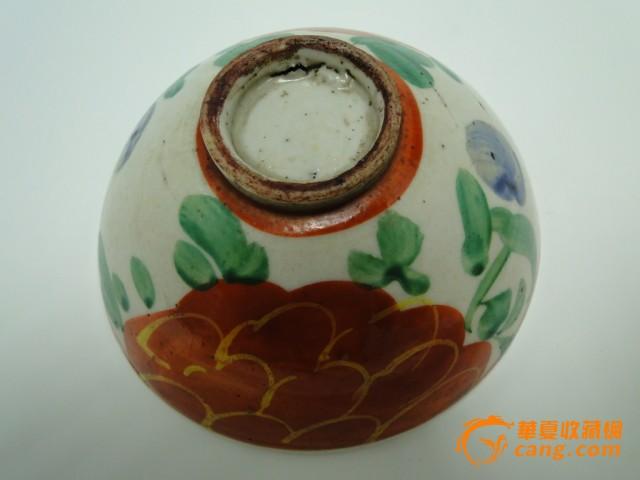 老物件手绘清代红釉瓷碗