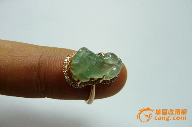 缅甸a货翡翠冰种貔貅戒指