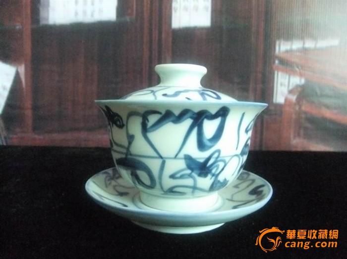 景德镇文革陶瓷器/厂货/古窑青花手绘三才盖碗茶杯