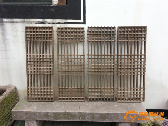 清代直条方格榫卯结构老窗门木