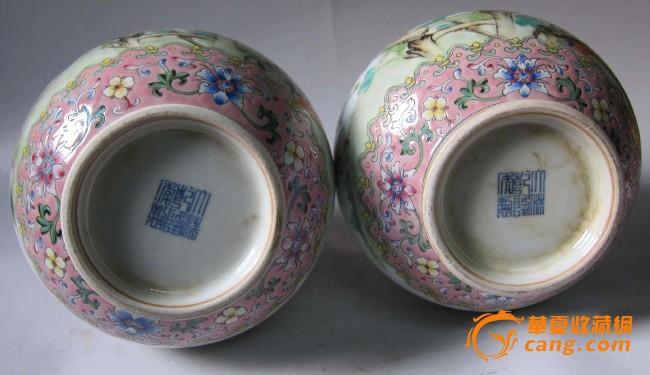 大清乾隆年制老粉彩花鸟瓷器花瓶一对图片