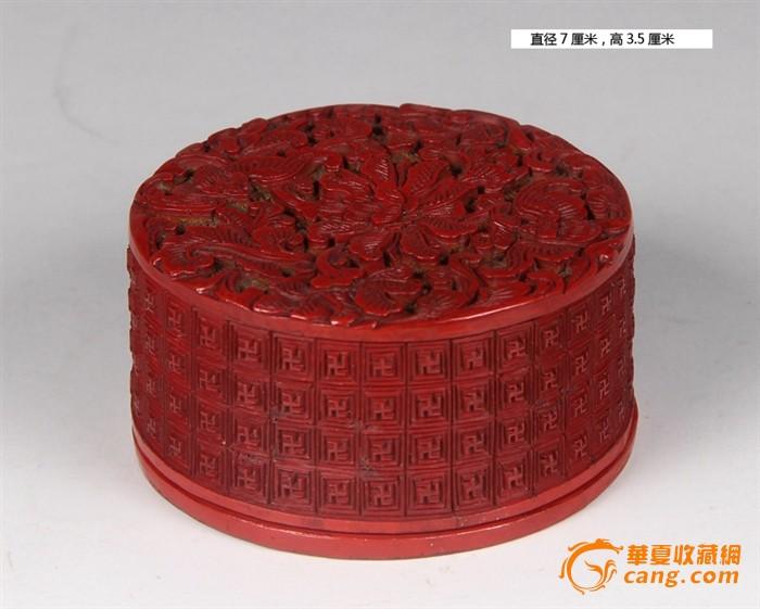 清乾隆 宝相花剔红圆盒
