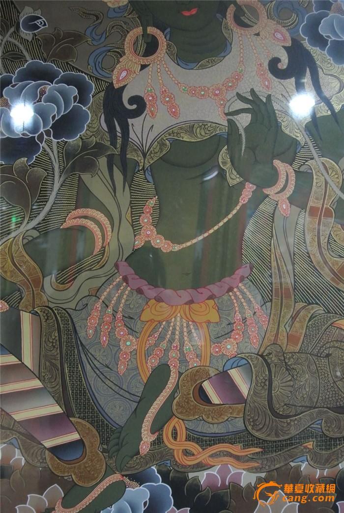 纯手绘绿度母佛画