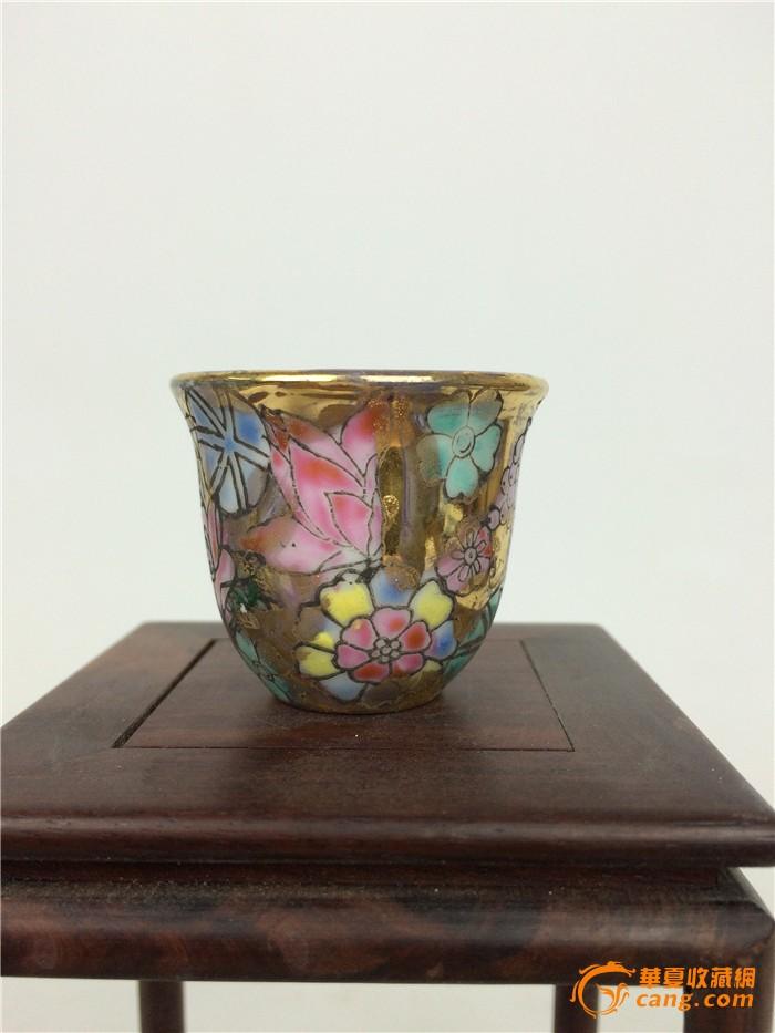 景德镇艺术瓷厂手绘金地万花小酒杯