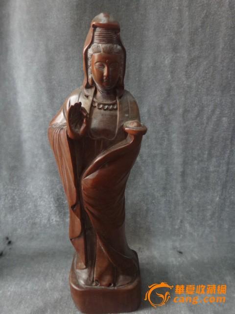 黄杨木木雕观音站像