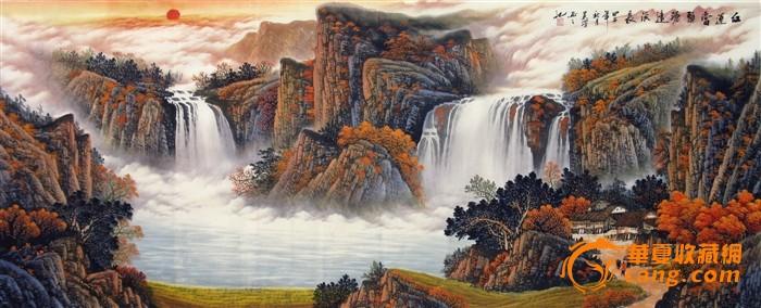 吴泽手绘国画山水字画 小八尺大瀑布青绿山水