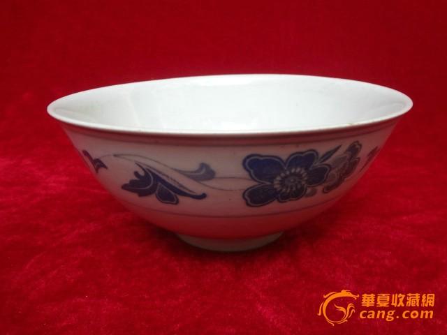 少見款識的纏枝連理紋青花大瓷碗 湖南石灣窯老瓷碗一只