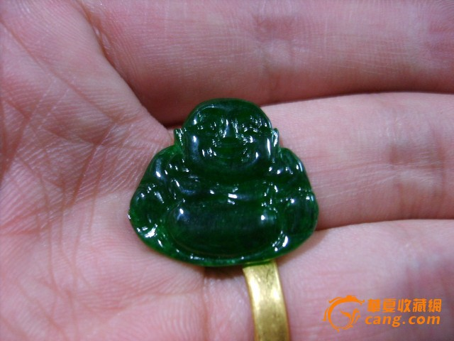 缅甸翡翠水草绿手工抛挖 弥勒佛图片
