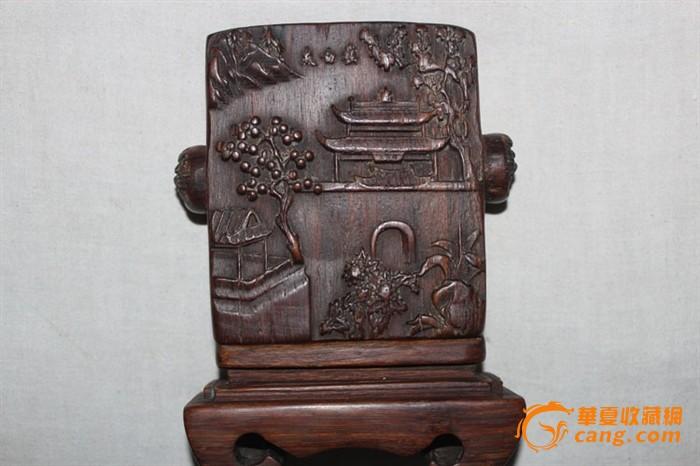 两边圆的雕刻的狮子头,上面有四个插孔,罕见图1