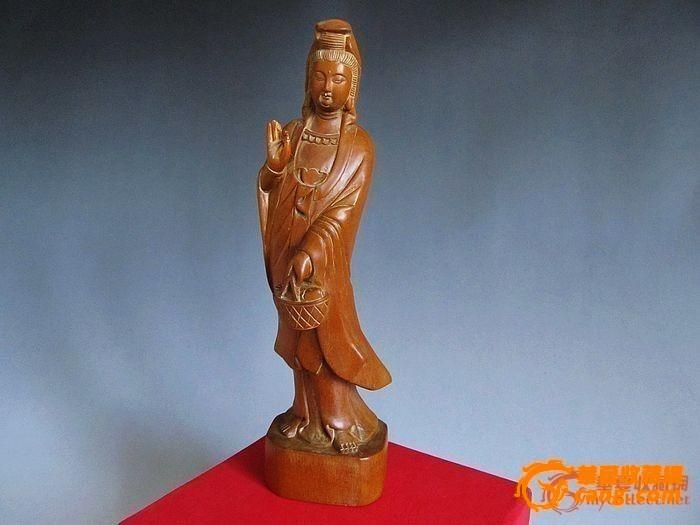 黄杨木雕观音 雕工精细 面相和蔼图1