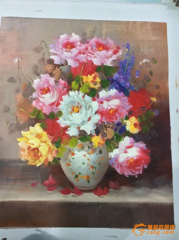 纯手绘油画 牡丹花