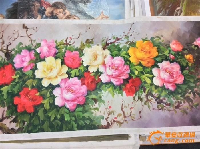纯手绘油画 牡丹富贵图