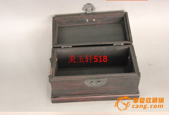 长方形翻盖式木盒子,微型小木箱