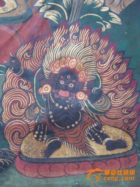 清-布制手绘唐卡-红菩萨