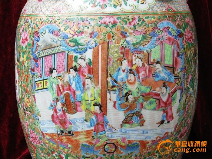 特大号咸丰广彩人物绘画赏瓶图片