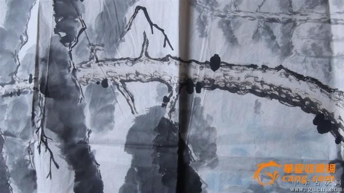 山水画松树配瀑布,小品