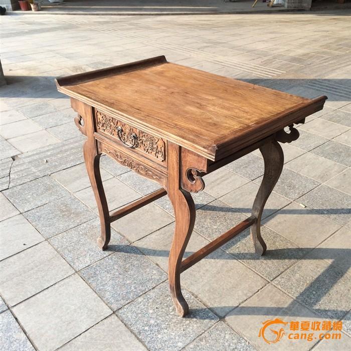 清代木器黄花梨木雕卷草纹翘头供案供桌