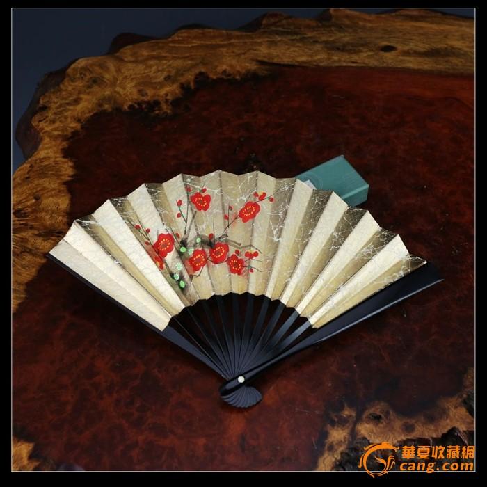 日本京扇堂茶席扇金银扇手绘梅花祝仪扇茶道扇15厘米