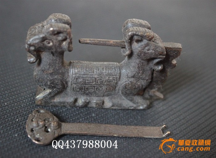 乡下收的双羊头铜锁 有钥匙