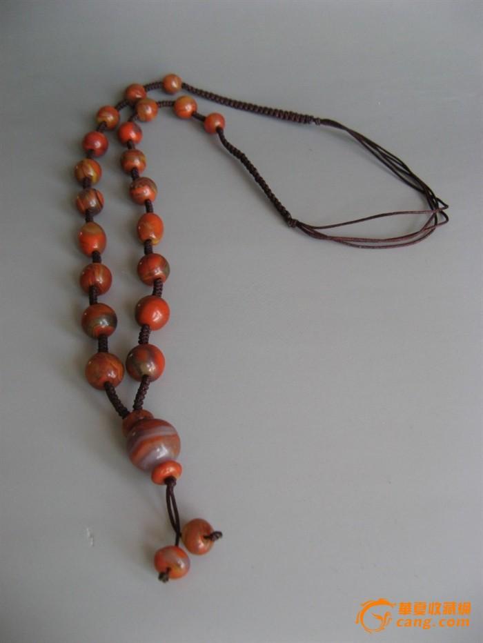 25117圆珠吊坠绳编战国红圆珠玛瑙项链