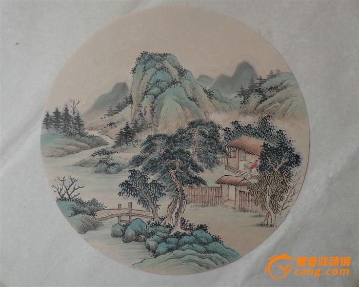 国画山水圆形扇面分享展示图片