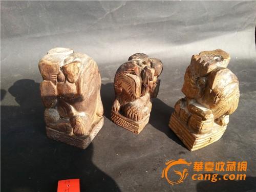 木雕:可爱的五只小木狮