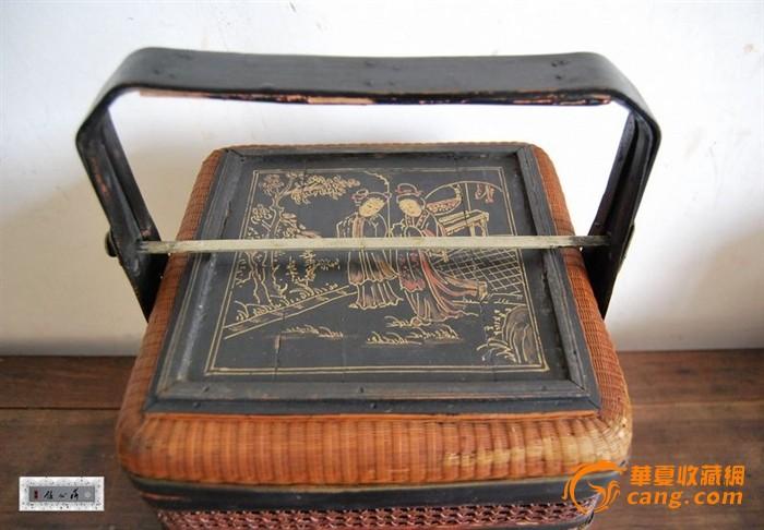 清代精品细竹丝编制双层食盒