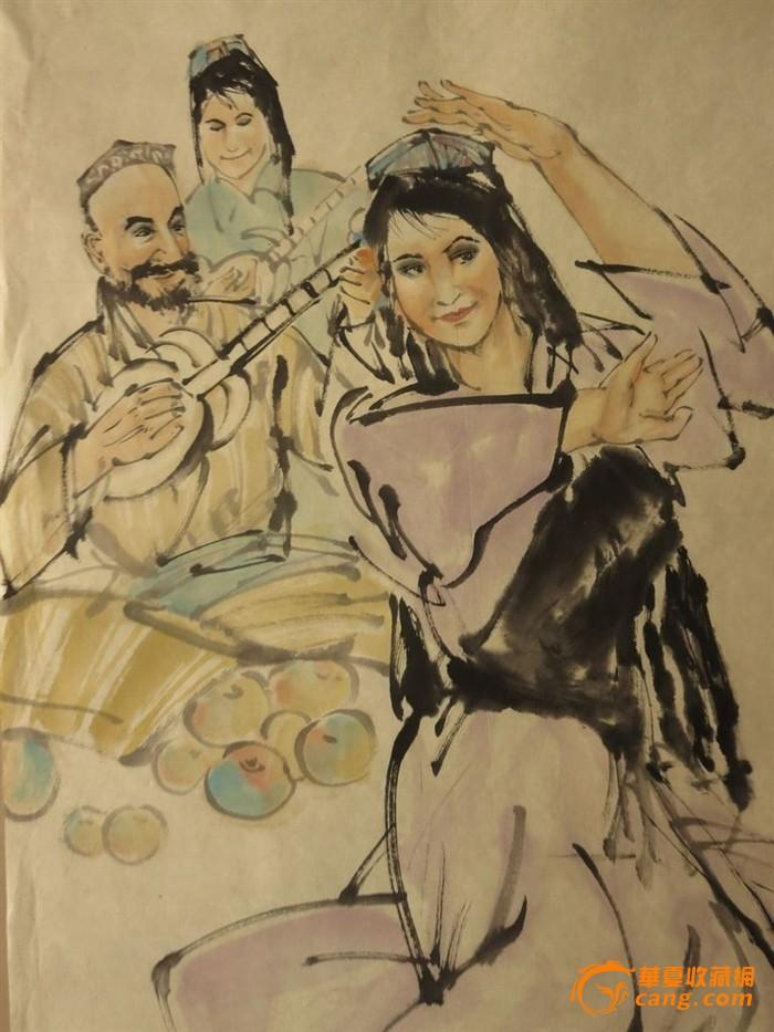 包邮纯手绘,新疆舞蹈