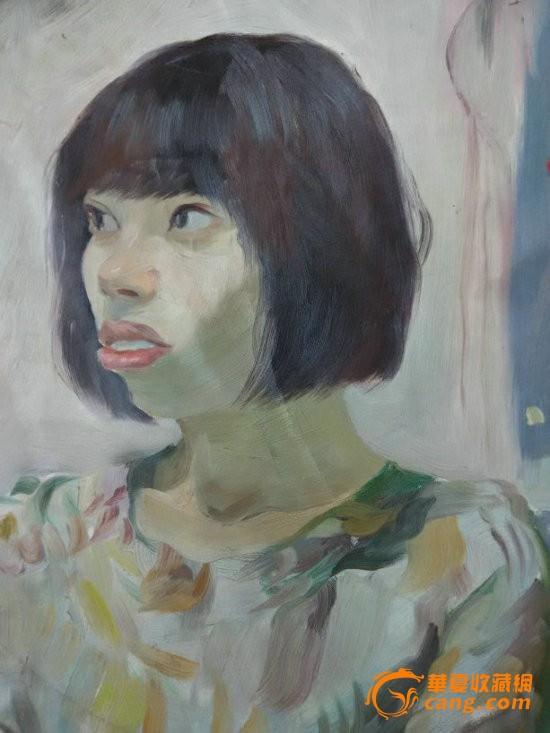 *圆形布面人物油画一幅-女肖像,有画家签名