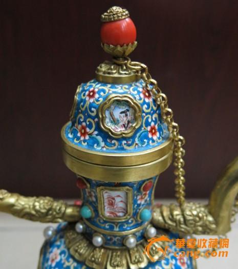 铜胎画珐琅人物酒壶