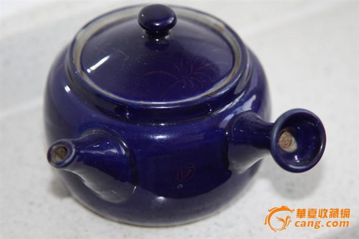 一把不错的霁蓝釉描金汤壶