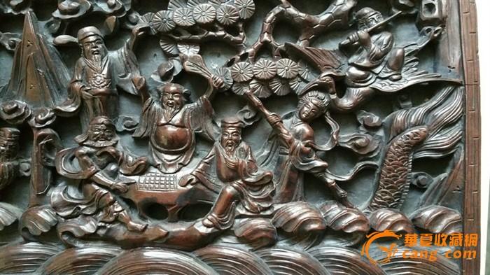 八仙过海人物雕木板