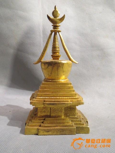 铜鎏金藏传舍利塔 高18厘米长9厘米宽8.5厘米