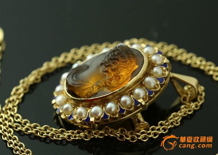 博物馆级别西洋古董首饰18k黄金老珍珠老玛瑙高浮雕