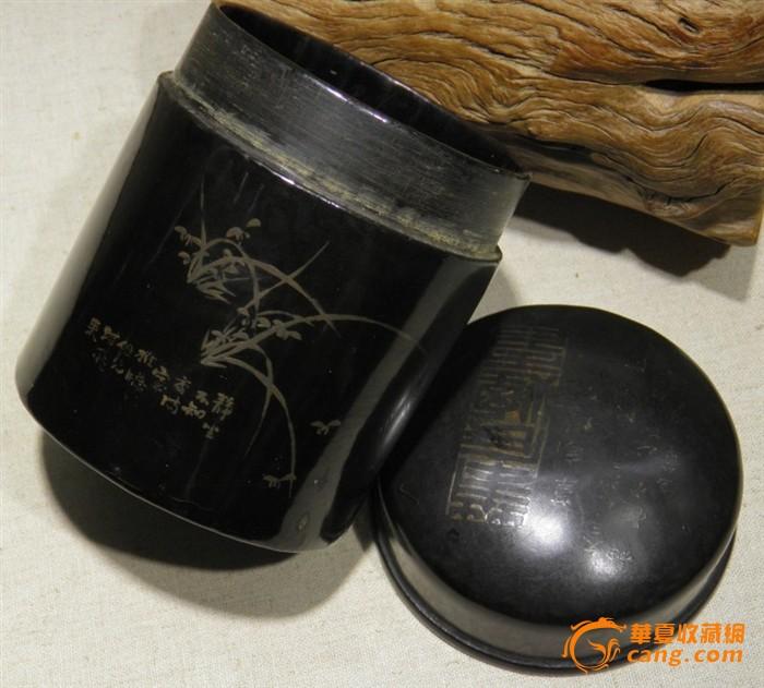 晚清书银漆器茶叶罐图片