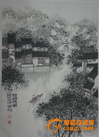 名家郑守宽江南小景山水画竖幅国画图片