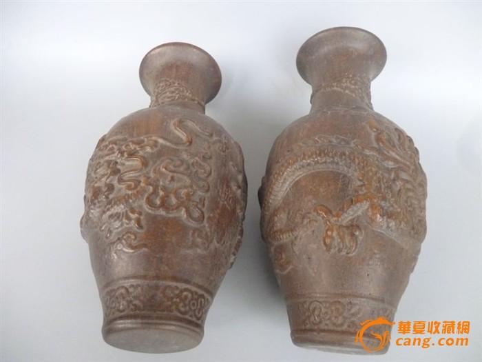 在乡下收到的老木头花瓶一对