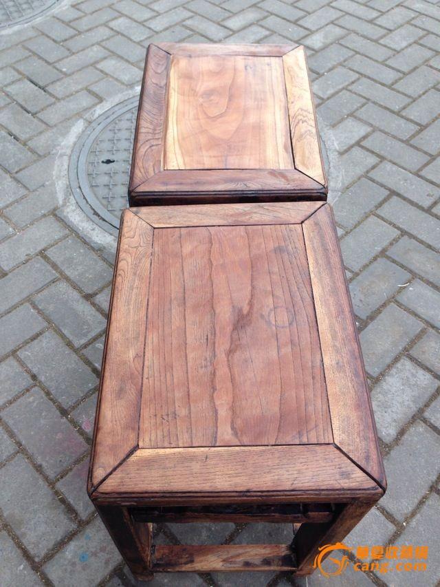 苏工榉木方凳一对