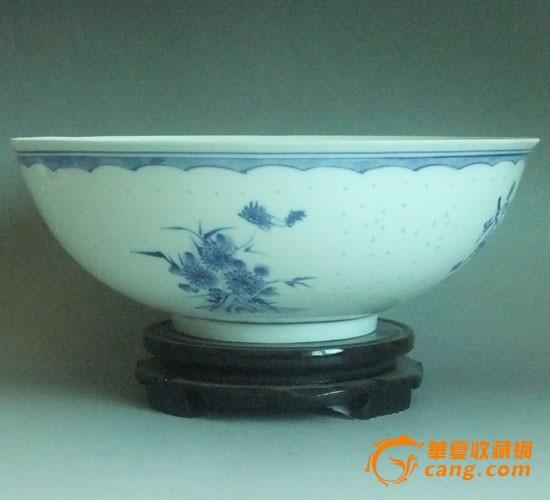 景德镇陶瓷 手绘青花玲珑 薄胎碗图片