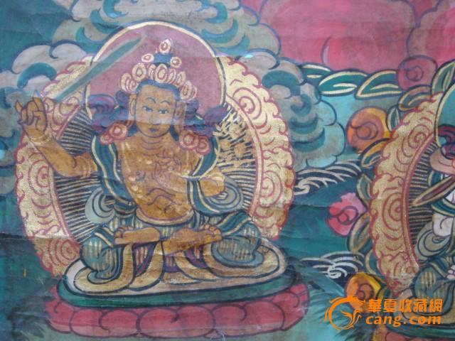 清-布制手绘唐卡-蓝菩萨