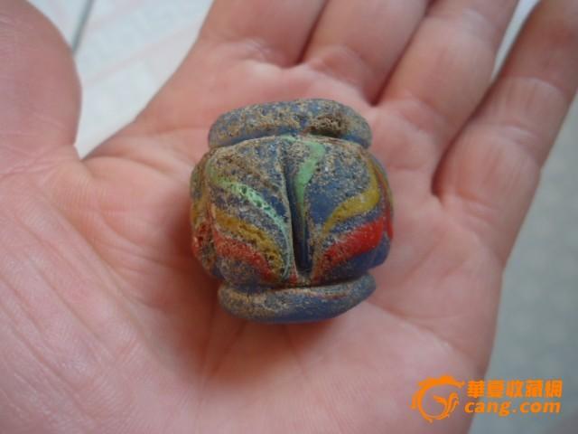 汉墓出土的老琉璃珠子一个
