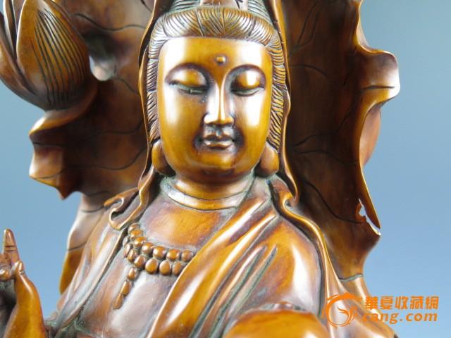 黄杨木雕站像观音