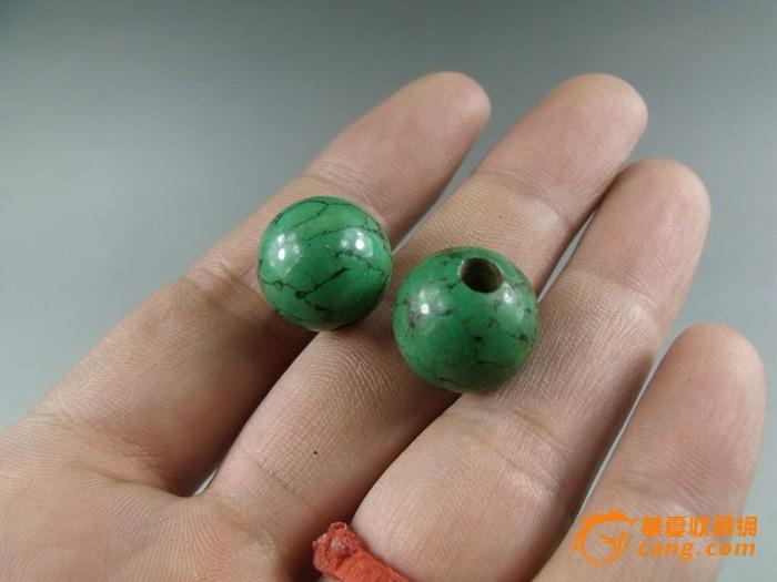 绝对包老 清代老绿松石圆珠