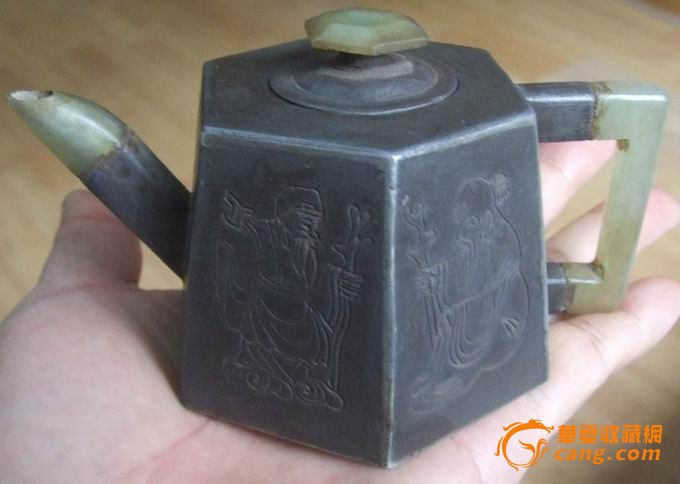 『清代茗壶』古玉◆白铜◆紫砂◆三镶壶图片