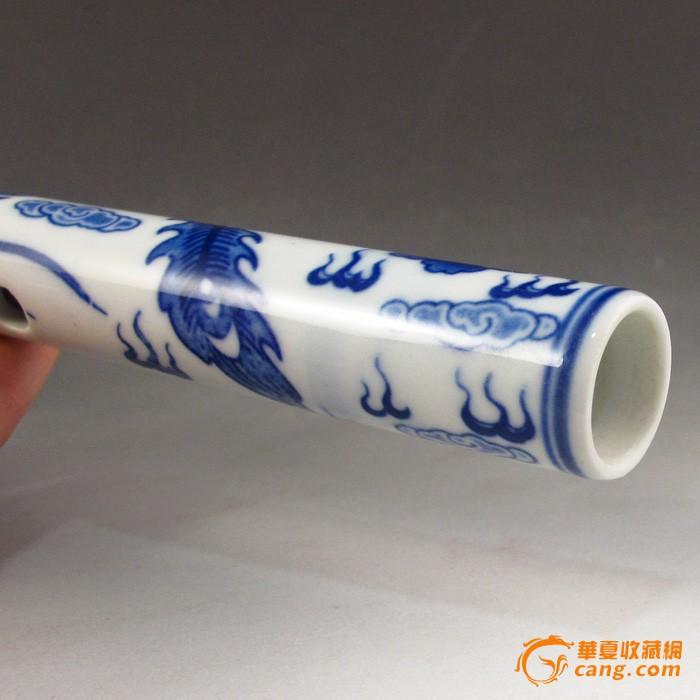 精美青花瓷手绘 龙凤呈祥 笛子