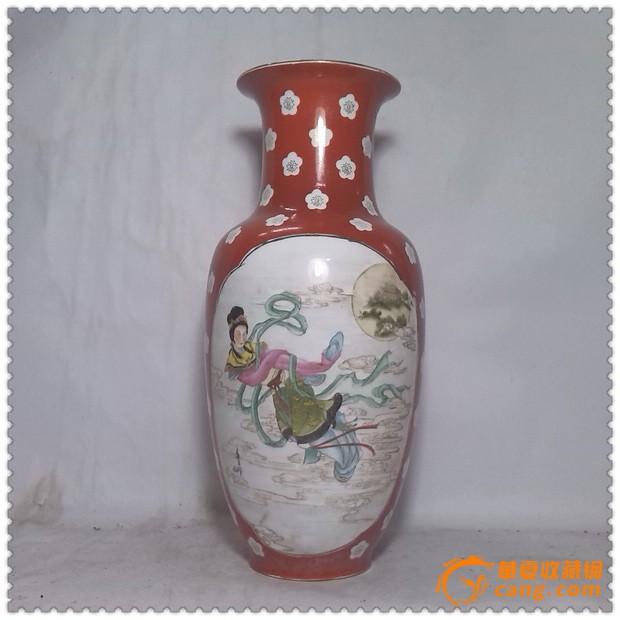 嫦娥奔月*画工精美的文革手绘瓷瓶