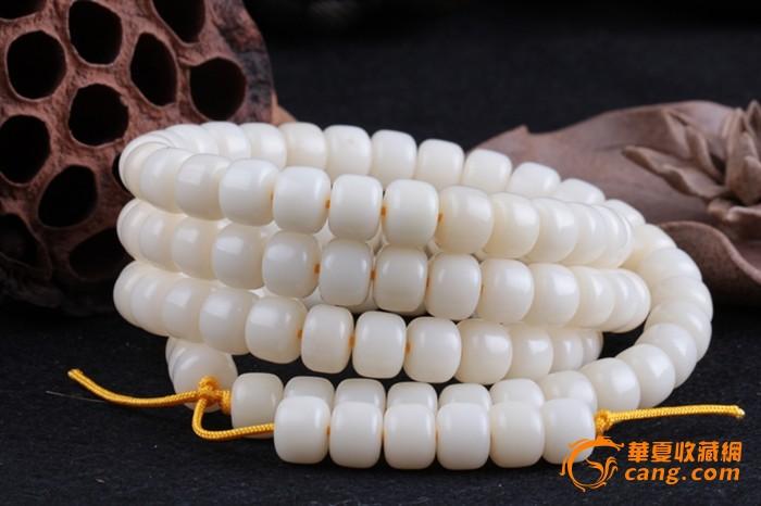 天然藏式白玉白菩提根手链图片