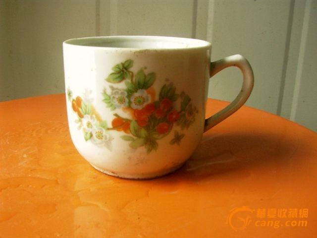 民国印花鲜花茶杯