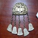 还价老银器系列之三:银鎏金福禄寿三星带铃铛锁片